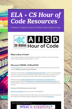 ELA + CS Hour of Code Resources