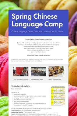 Spring Chinese Language Camp