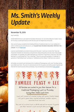 Ms. Smith's Weekly Update