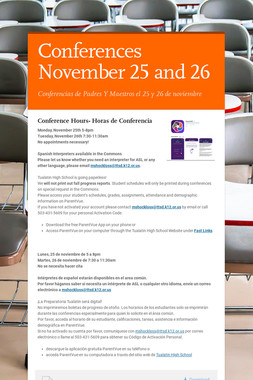 Conferences November  25 and 26