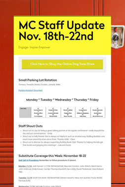 MC Staff Update Nov. 18th-22nd