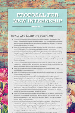 proposal for MSW internship