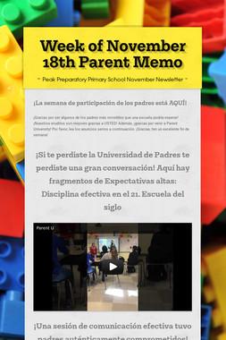 Week of November 18th Parent Memo