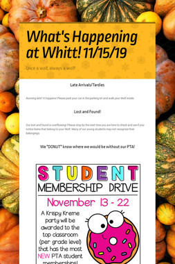 What's Happening at Whitt! 11/15/19