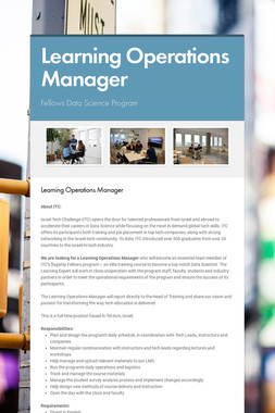 Learning Operations Manager