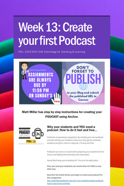 Week 13: Create your first Podcast