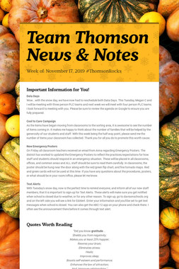 Team Thomson News & Notes