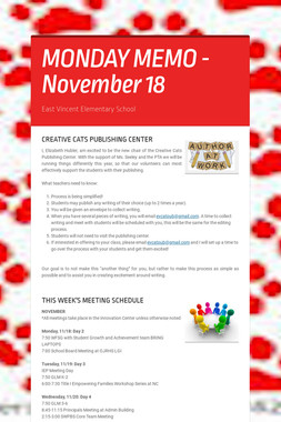 MONDAY MEMO - November 18