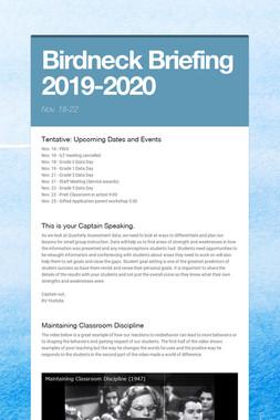 Birdneck Briefing 2019-2020
