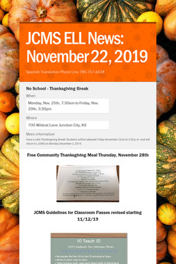 JCMS ELL News: November 22, 2019