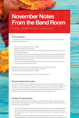 November Notes From the Band Room