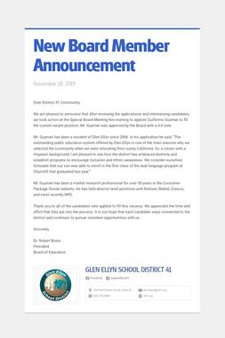 New Board Member Announcement