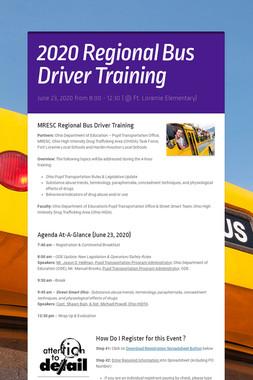 2020 Regional Bus Driver Training