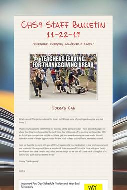 CHS9 Staff Bulletin 11-22-19