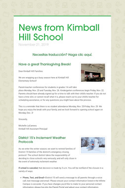 News from Kimball Hill School