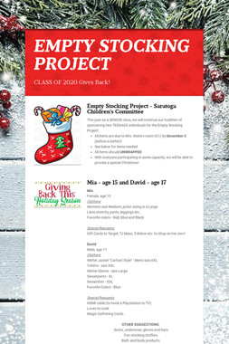 EMPTY STOCKING PROJECT