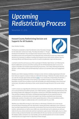 Upcoming Redistricting Process