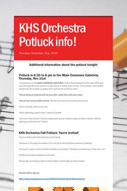 KHS Orchestra Potluck info!