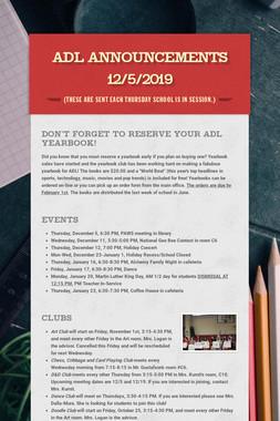 ADL Announcements 12/5/2019