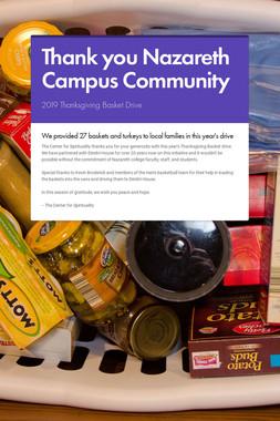 Thank you Nazareth Campus Community