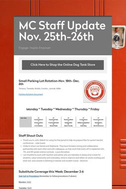 MC Staff Update Nov. 25th-26th