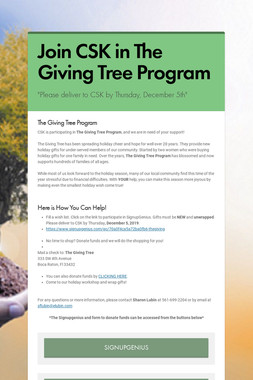 Join CSK in The Giving Tree Program