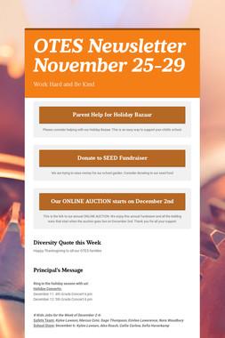 OTES Newsletter November 25-29