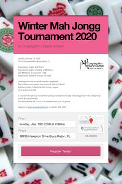 Winter Mah Jongg Tournament 2020