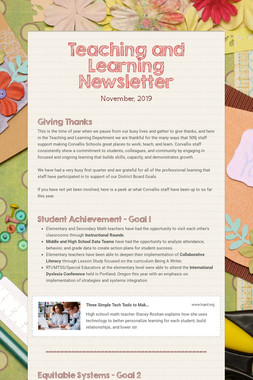 Teaching and Learning Newsletter