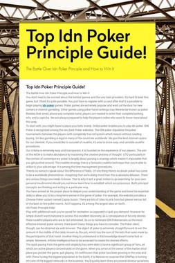 Top Idn Poker Principle Guide!