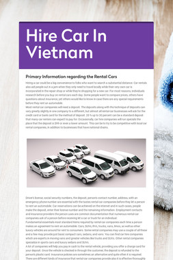 Hire Car In Vietnam