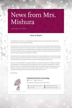 News from Mrs. Mishura