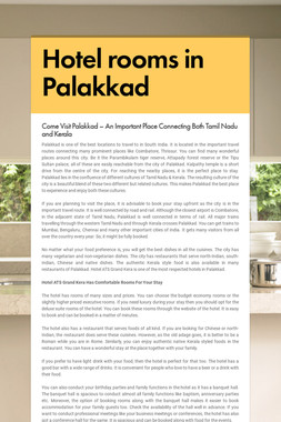 Hotel rooms in Palakkad