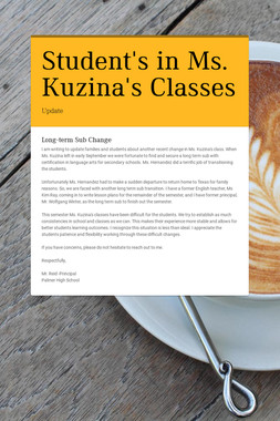 Student's in Ms. Kuzina's Classes