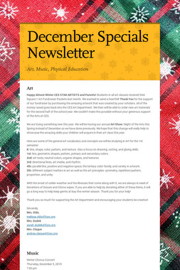 December Specials Newsletter
