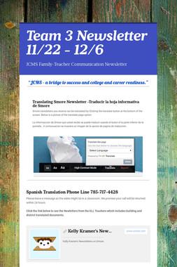 Team 3 Newsletter 11/22 - 12/6
