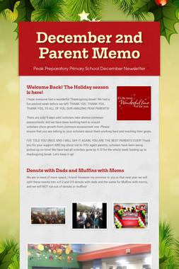 December 2nd Parent Memo