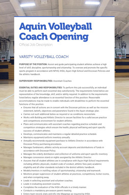 Aquin Volleyball Coach Opening