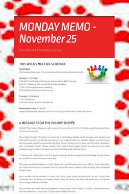MONDAY MEMO - November 25