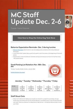 MC Staff Update Dec. 2-6
