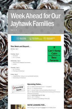 Week Ahead for Our Jayhawk Families
