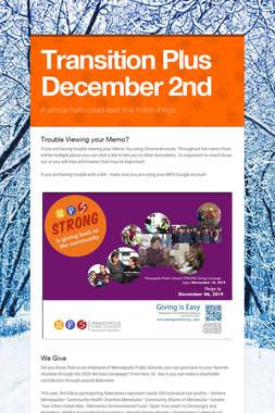 Transition Plus  December 2nd