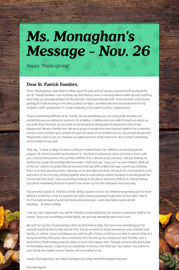 Ms. Monaghan's Message - Nov. 26