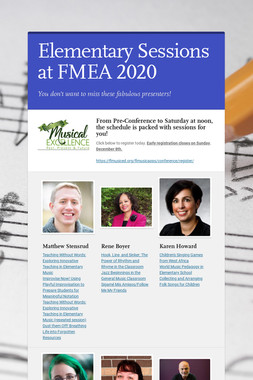 Elementary Sessions at FMEA 2020