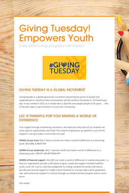 Giving Tuesday! Empowers Youth