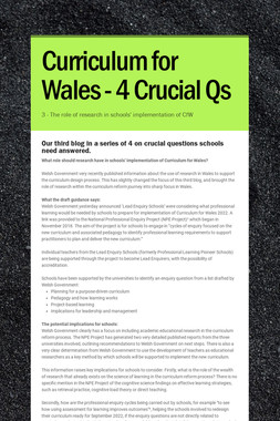 Curriculum for Wales - 4 Crucial Qs