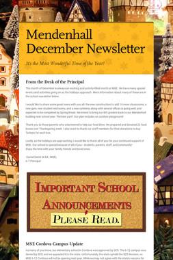 Mendenhall December Newsletter