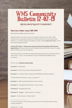 WMS Community Bulletin 12-02-19