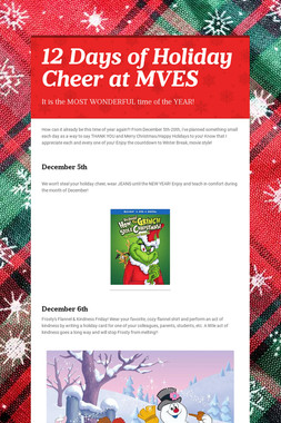 12 Days of Holiday Cheer at MVES