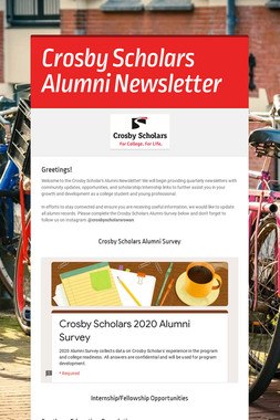 Crosby Scholars Alumni Newsletter